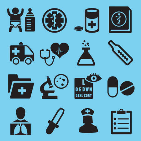 baby sick: Medical icons for design - vector icons Illustration
