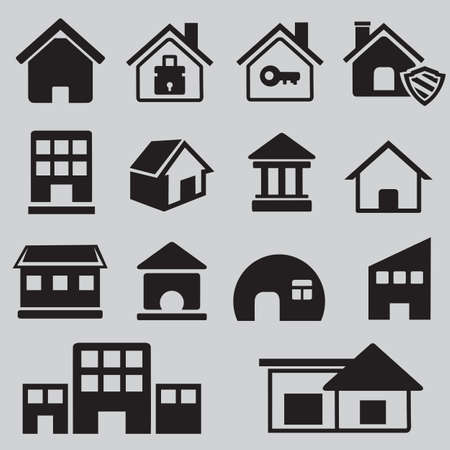 residental: Set of houses icons - vector icons Illustration