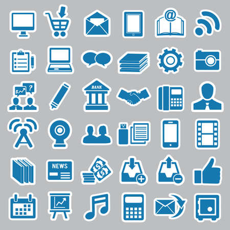 Set of social media stickers for design - vector icons Stock Vector - 19085125