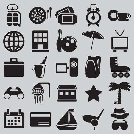 Set of tourism and recreation icons - part 1 - vector icons Vector