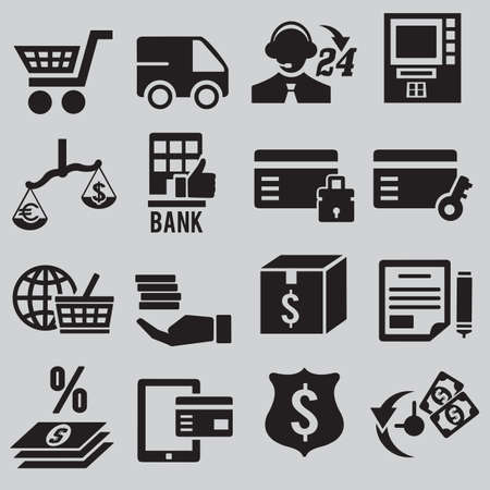 Set of business and money icons - part 3 - vector icons Stock Vector - 19085137