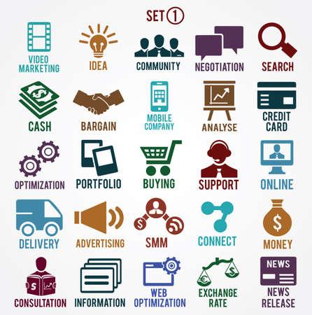 network marketing: Conjunto de servicios de los iconos de Internet - parte 1 - s�mbolos vectoriales