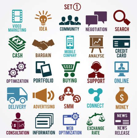 brand monitoring: Set of internet services icons - part 1 - vector symbols