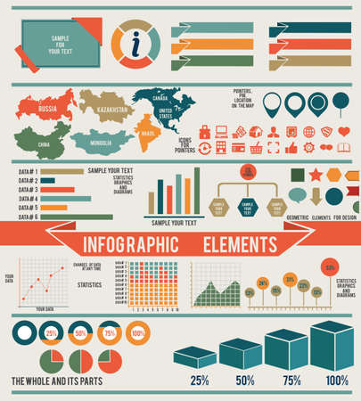 outcome: Set of infographic elements for design - vector elements