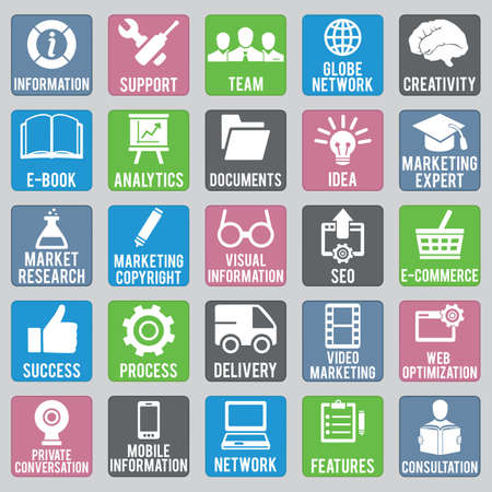 seo process: Set of seo icons - part 1 - vector icons Illustration