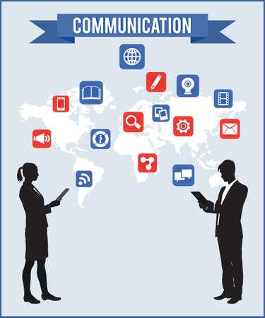 computer user: Concept of communcation - vector illustration Illustration