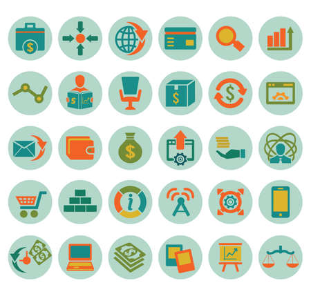 Set of social media marketing icons - vector icons Stock Vector - 19085134