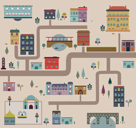 urban area: Set of city streets infographics - vector illustration Illustration