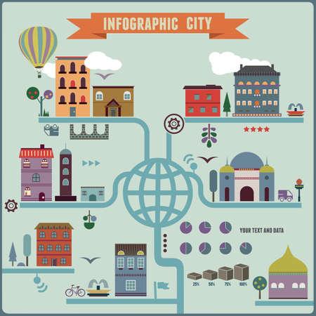 diagrama de arbol: Ciudad Infograf�a - ilustraci�n vectorial