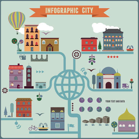 city scape: Infographic city - vector illustration Illustration