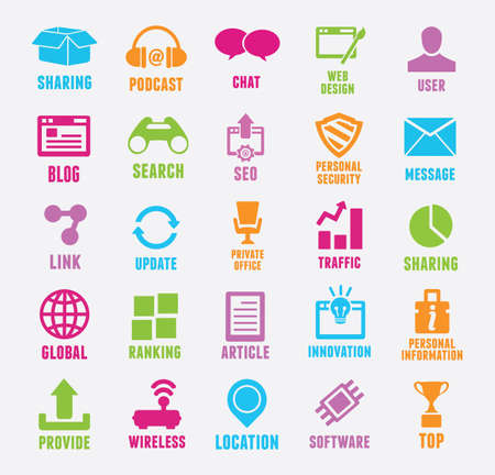 integrated: Set of seo and internet service icons - icons Illustration