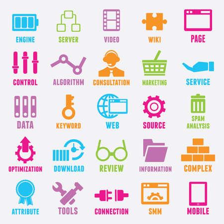Conjunto de SEO e Internet iconos de servicio - Parte 2 - Iconos
