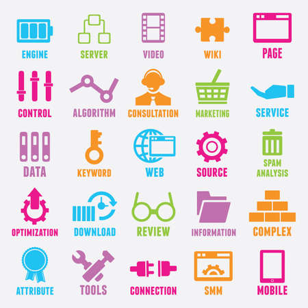 brand monitoring: Set of seo and internet service icons - part 2 - icons