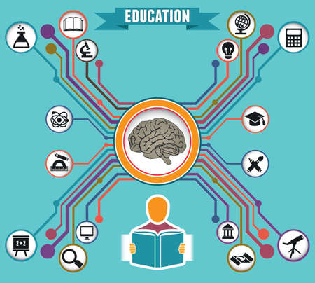 Concept of education and knowledge - vector illustration