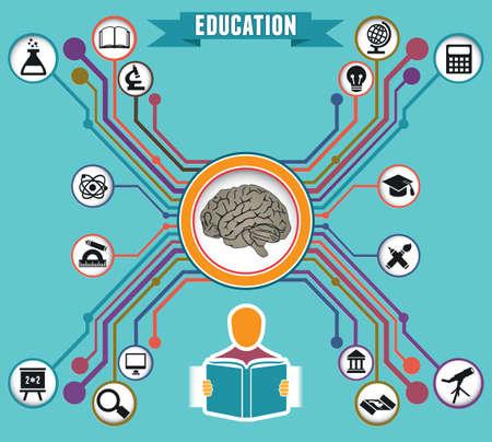Concepto de la educación y el conocimiento - ilustración vectorial