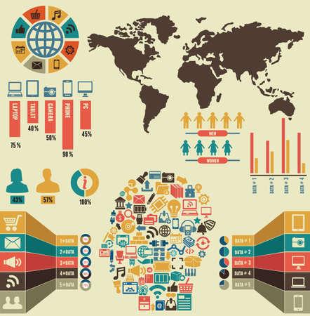 demografico: Infograf�a de los medios sociales - ilustraci�n vectorial