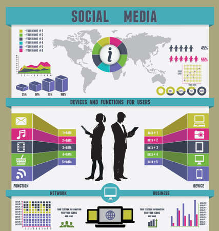medias: Infographic of social media - vector illustration