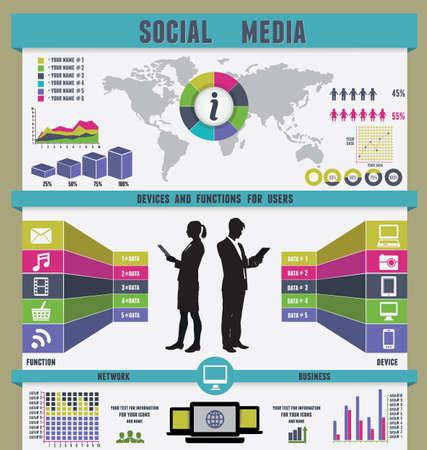 visual information: Infographic of social media - vector illustration