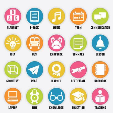 study icon: Set of education icons - part 2 - vector icons