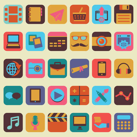old pc: Set of buttons for design - vector icons