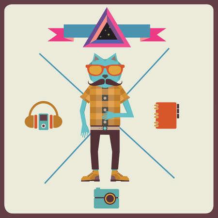 ketch: Minimalism concept of hipster - vector illustration