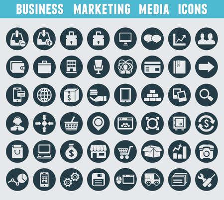 e commerce icon: Conjunto de marketing y negocios iconos - iconos vectoriales