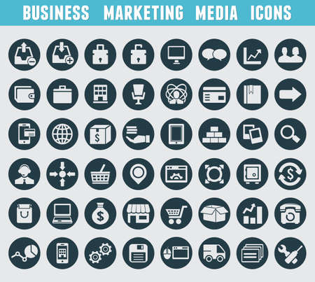 Set of business and marketing icons - vector icons Stock Vector - 20476875