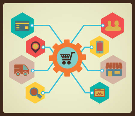ecommerce: Process of marketing and shopping - vector illustration