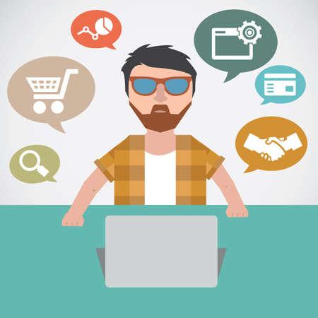 Concept of online marketing - vector illustration Stock Vector - 20477714