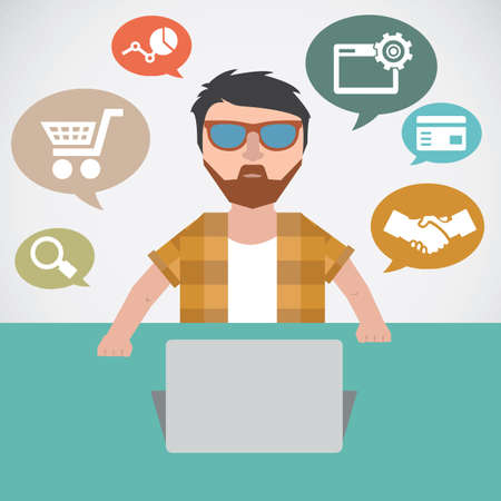 analytic: Concept of online marketing - vector illustration
