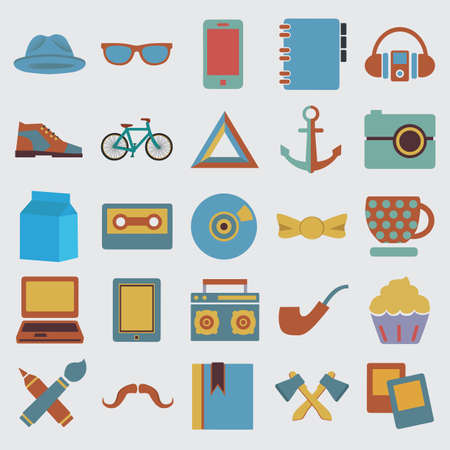 Set of hipster symbol - vector icons Vector