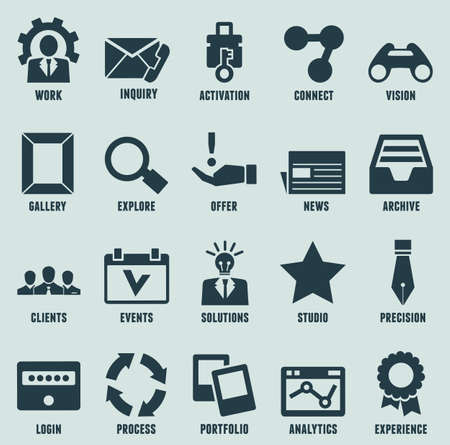 design process: Set of marketing internet and service icons - part 3 - vector icons