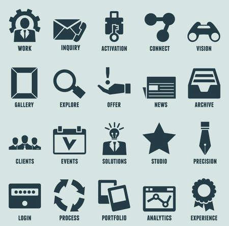 proces: Zestaw internet marketing i ikony usług - część 3 - zestaw ikon wektorowych Ilustracja