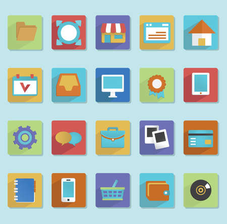 card file: Flat icons for web design - part 1 - vector icons Illustration