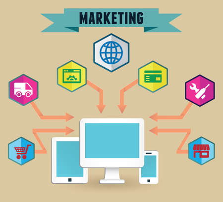 emarketing: Concept of media marketing - vector illustration