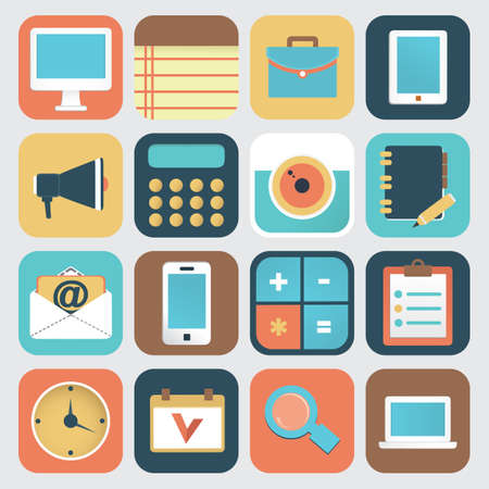 Set of application of social media  Flat icons - vector icons Stock Vector - 21005741