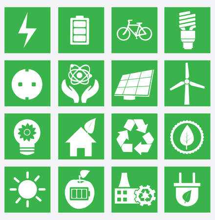 electricity generator: Set of energy saving icons - part 1 - vector icons
