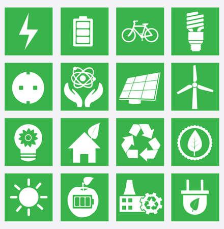 Set van energiebesparing iconen - deel 1 - vector iconen