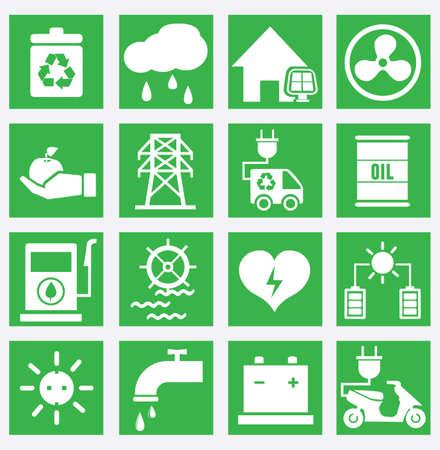 electricidad industrial: Conjunto de iconos de ahorro energético - parte 2 - iconos vectoriales