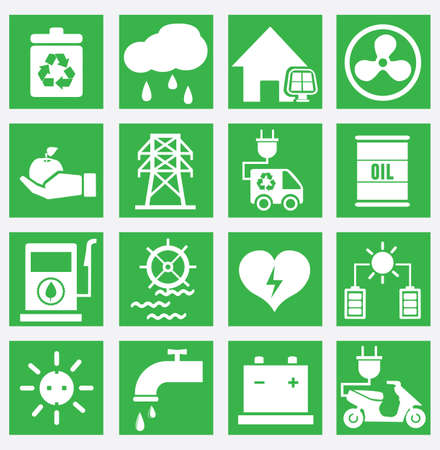 electric wire: Set of energy saving icons - part 2 - vector icons