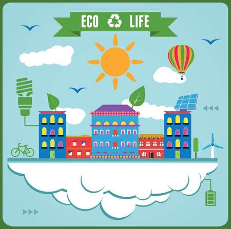solar equipment: Eco Info Gr�ficos de la vida Concepto de la ecolog�a - ilustraci�n vectorial
