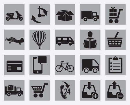 air cargo: Set of different delivery icon
