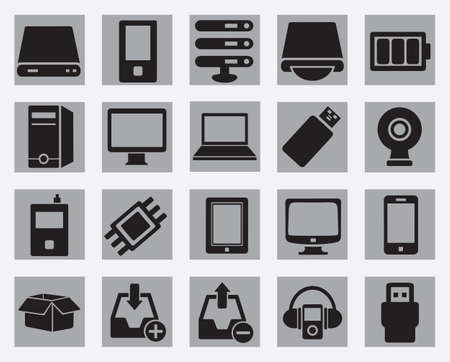 computer memory: Set of computer hardware icons