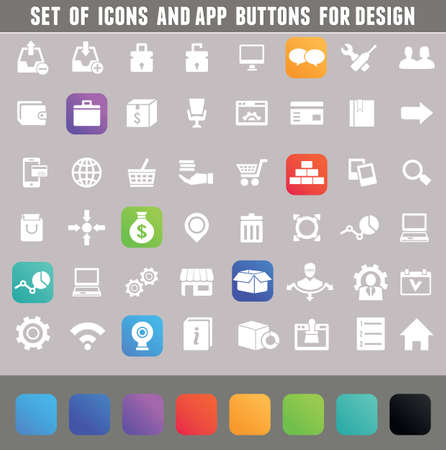 ios: Set of icons and app buttons for design
