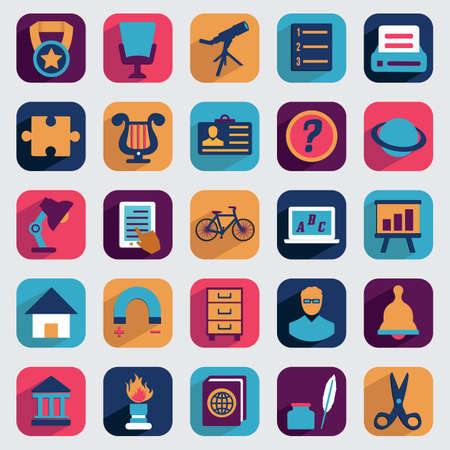 school schedule: Set of flat education icons for design