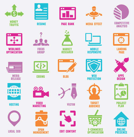 marketing online: Set of seo and internet service icons