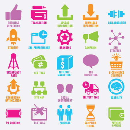 integrate: Set of seo and internet service icons