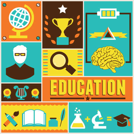 cognition: Retro poster of education  Illustration