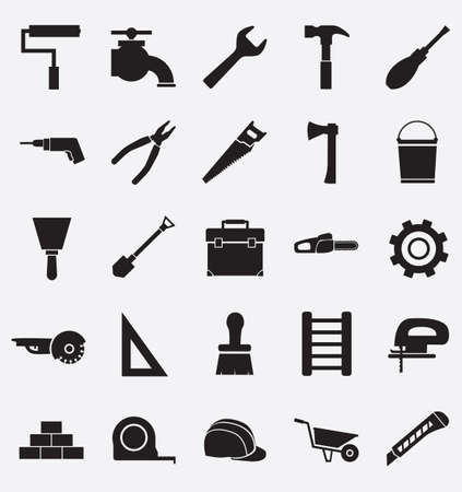 electric tools: Set of construction tools icons