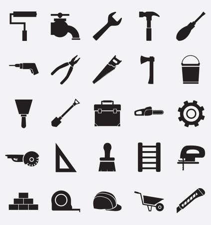 brick work: Set of construction tools icons